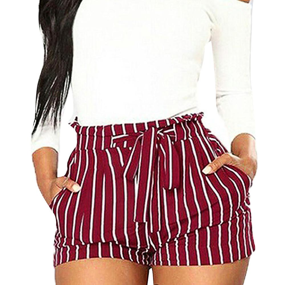 Summer Fashion Female   Shorts   Women Stripe Printing Pocket High Waist Bandage Easy Elastic Casual   Short   Beach High Waist   Shorts