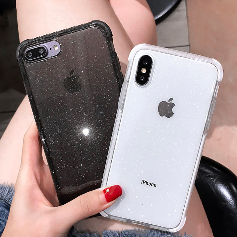 Shining Glitter Powder diamond Phone Case For iPhone X XR XS Max 8 7 Plus 6 6SPlus Transparent Soft Shockproof Back Cover in Fitted Cases from Cellphones Telecommunications