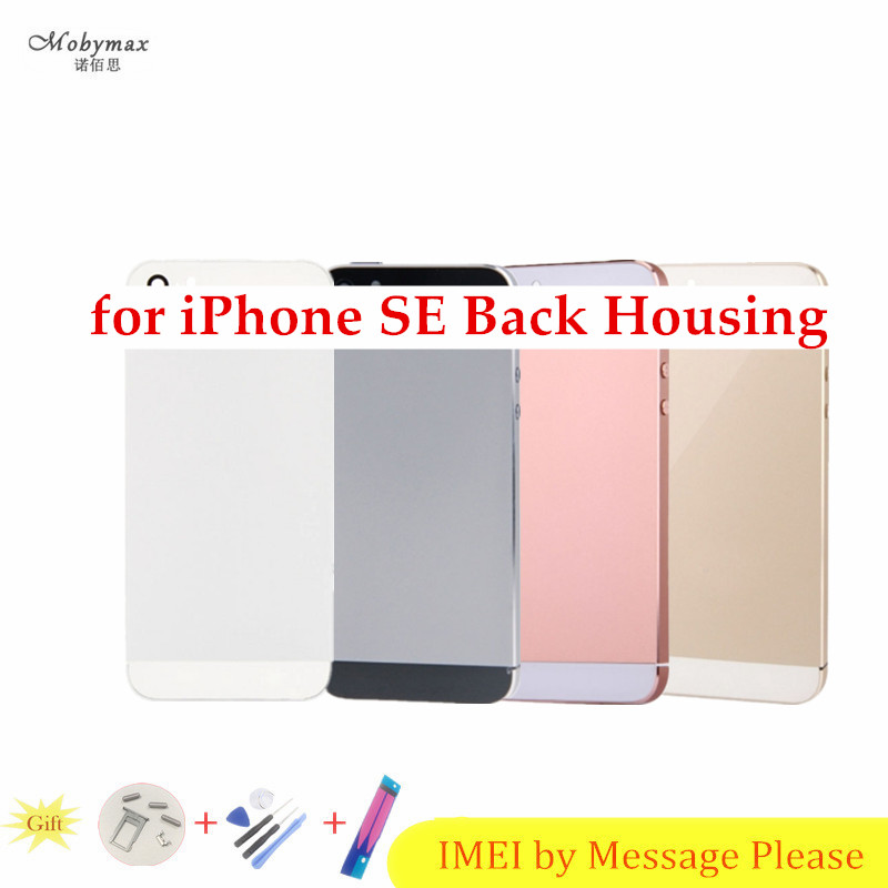 Chassis Back Housing Fundas for iPhone SE A1662 A1723Battery Cover Coque+LOGO& Buttons&Sim Tray+Sticker+Custom IMEI Middle Frame