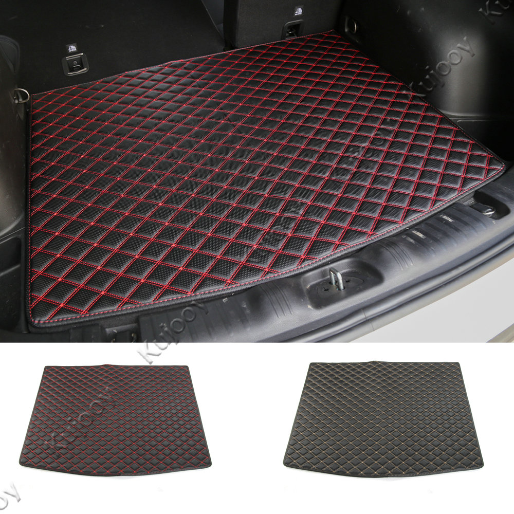 1pcs Black Artificial Leather Rear Trunk Tray Liner Cargo Floor Protector Foot Pad Mats for Jeep Compass 2017+ for mazda cx 5 cx5 2nd gen 2017 2018 interior custom car styling waterproof full set trunk cargo liner mats tray protector