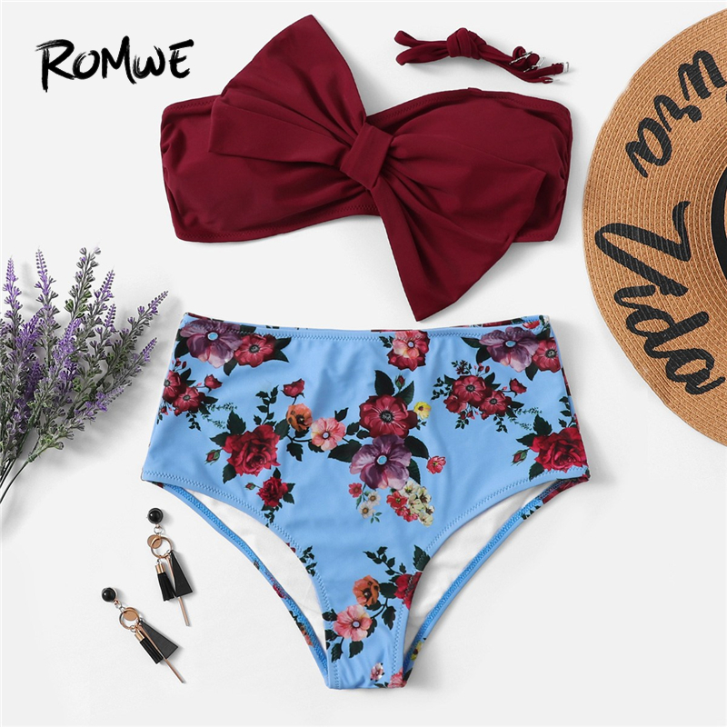 Romwe Bikini-Top Swimwear Bandeau High-Waist Sport Bottoms Floral-Print 2piece Bow Wireless