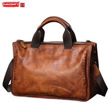 HANSOMFY Genuine Leather Men's Bag Soft Leather Woven Handba