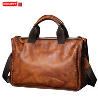 HANSOMFY Genuine Leather men's bag soft leather woven handbag casual retro 13 Laptop business briefcase shoulder Messenger bag