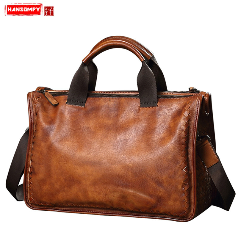 HANSOMFY Genuine Leather men's bag soft leather woven handbag casual retro 13 Laptop business briefcase shoulder Messenger bag image