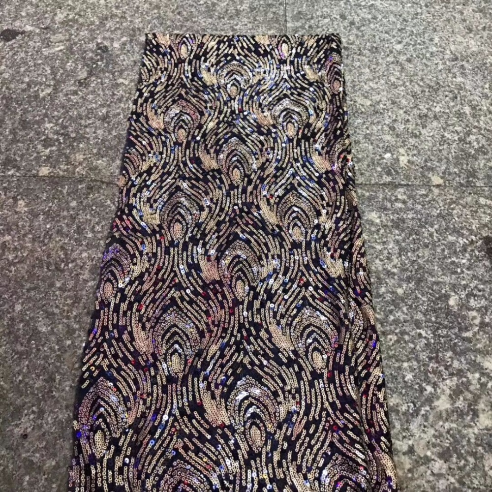 Nice looking fuchsia soft velveteen embroidery African velvet lace fabric with nice sequins for party dress