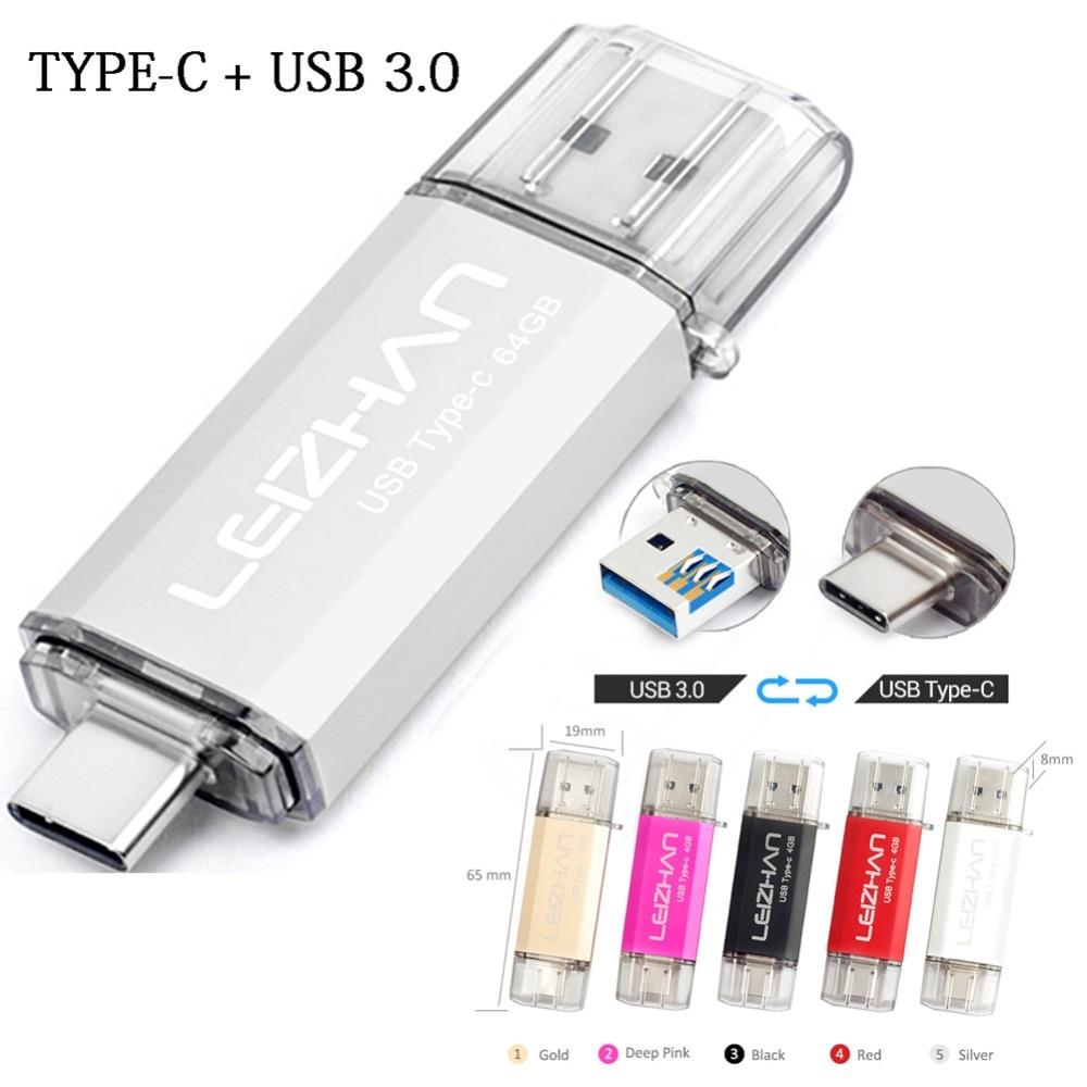 LEIZHAN USB C Pendrive 256GB Type C Flash USB 128GB For Samsung Galaxy S10 S9 S8 USB 3.0 Flash Drive Thumbdrive 64GB 32GB 16GB