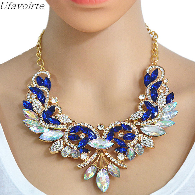 Ufavoirte New Women Exaggerated Rhinestone Necklace Alloy Flower Necklaces  Pendants Collar Statement Clavicle Chain Wholesale 615b2b307b4f