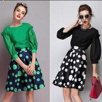 Black Green Dot Print Women Midi Skirt American Apparel High Waist Skirts Womens Saias Femininas 2015