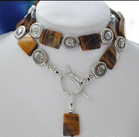 FREE SHIPPING>>>@@ > N2930 20x25MM oblong yellow tiger's eye necklace pendant 30inch
