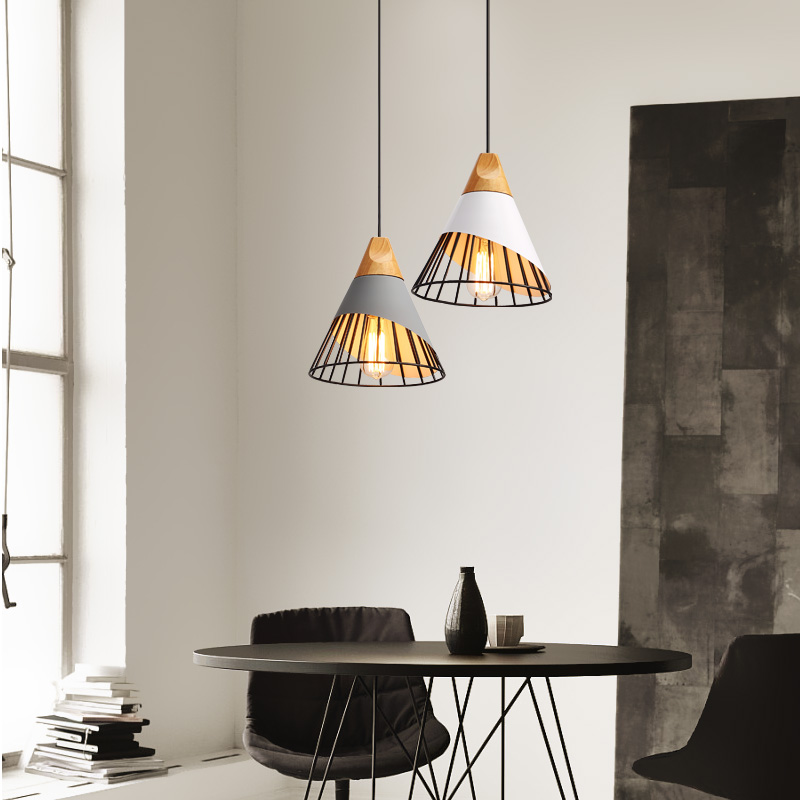 Nordic modern minimalist wooden Pendant lamp firewood Restaurant Bar Cafe creative Macarons lamp iron Pendant light modern iron 3heads yellow gray blue pendant light study macarons restaurant bar inline chandel lighting pendant lamps za925435