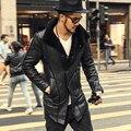 2016 Новый Зима Осень Марка pu кожаная куртка мужчины мотоцикл мужская тонкий длинный кожаный пальто мужчины теплая кожаная куртка мужчины шуба