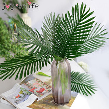 6pcs Large Plastic Artificial Green Loose Tail Leaf Tropical Palm Foliage Leaves Branch Plant Party Wedding Home Garden Decor