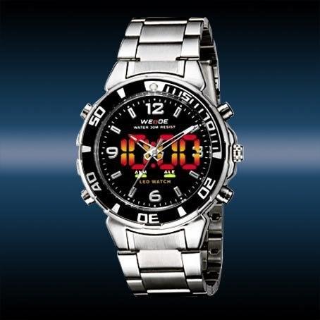 Mergulho Luxury LED Sports Luz Chronograph Mens Watch preto