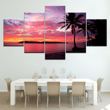 Sunset red sky sea landscape 5 Panels HD Print Wall Art modern Modular Poster art Canvas painting for Living Room Home Decor