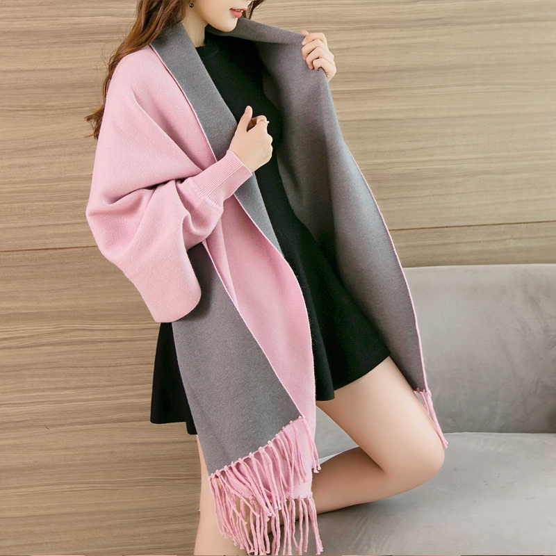 Wearable Sleeve Poncho for Ladies Winter Warm Scarf Women Luxury Soft Capes  All-Match Thick Pashmina Reversible Shawls and Wraps