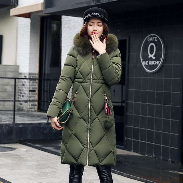 Big fur winter coat thickened parka women stitching slim long winter coat down cotton ladies down parka down jacket women 2018 2