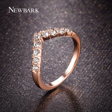 NEWBARK Rose Gold Color Fashion Ring Love Heart Design Rhinestones Studded Simple Rings For Women Jewelry Gifts