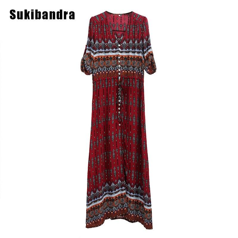 d1f939feac6 ... Sukibandra Floral Print Summer Women Dresses Boho Chic Bohemian Vintage  Hippie Red Split Plus Size Dress ...