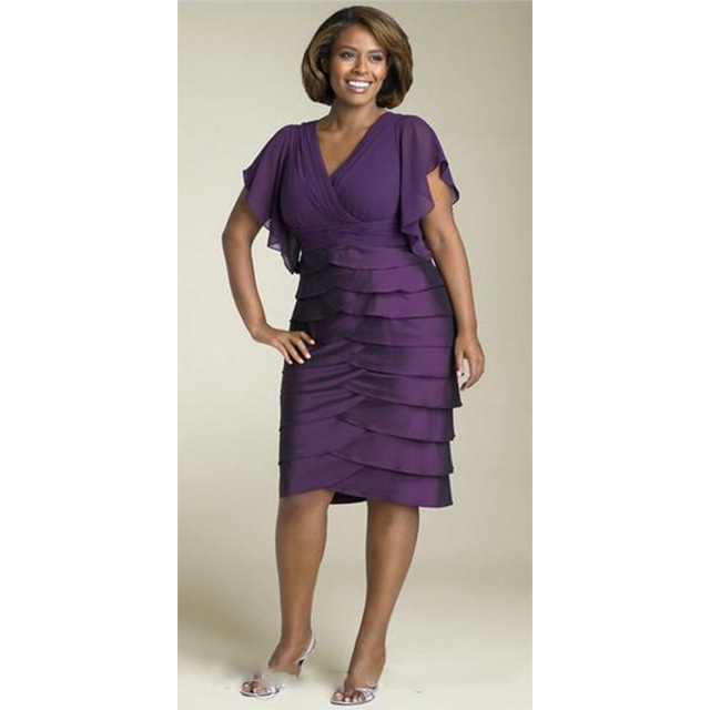 Elegant Purple Knee Length Ruffles Sleeve Plus Size Mother Of Bride