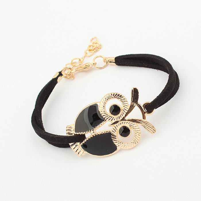 black-and-gold-owl-charm-bracelet-with-leather-straps-1