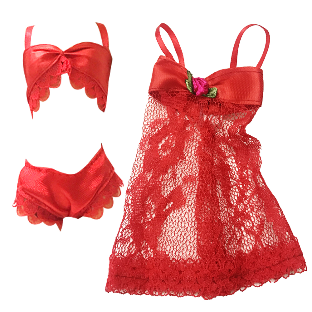 underwear bra Sexy Lace Dress Clothes For Barbie Dolls Accessories Gift For Child 028c Nk One Set Doll Red Pajamas