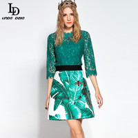 High Quality Women S Sets Bee Beading Lace Tops Sequin Banana Leaf Printed Skirt Suit