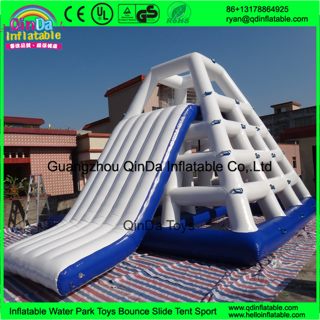 Inflatable Floating Water Slide With Stainless Steel Anchor Rings inflatable water climbing game