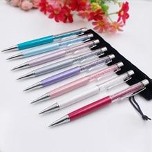 10Pcs/lot Kawaii School Office Writing Stationery Swarovski Pen Luxury Crystal Diamond Ballpoint Pen Metal Pens Free Shipping  цена в Москве и Питере