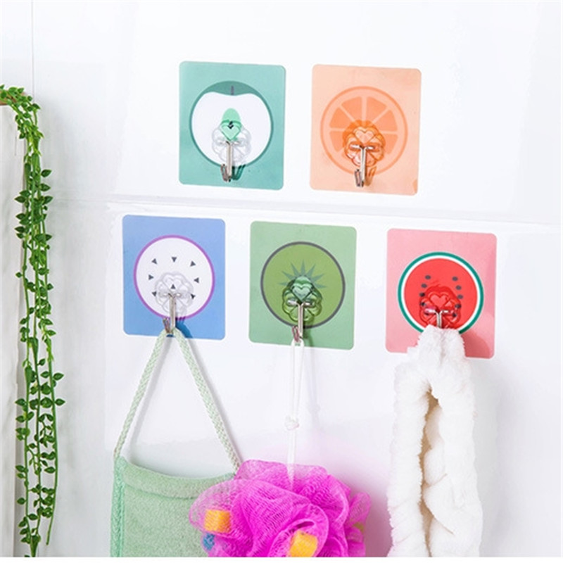 5pcs/ Lot Fruit Hook Clothes Holder Sticky Self-Adhesive Kitchen Bathroom Suction Cup Storng Rack Hat Holder Towel Hook FA0