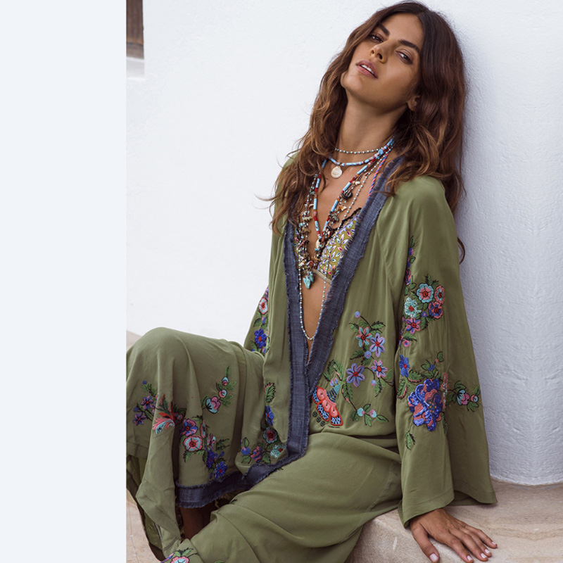 54c7d4b35a3d7 Lyprerazy Women Dress Floral Embroidery Loose Cardigan Dress Holiday ...