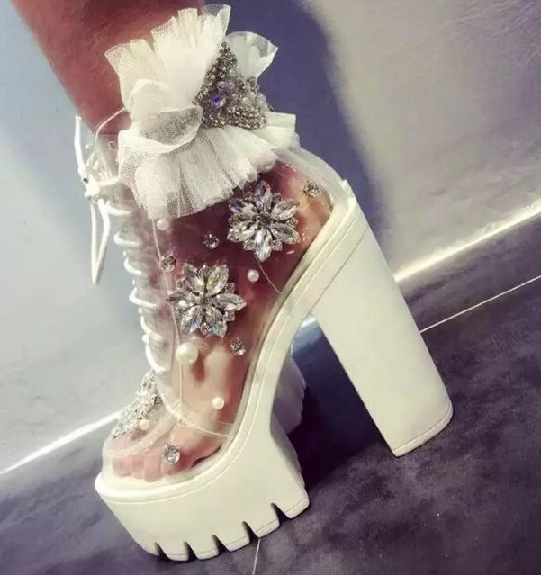 Sexy woman diamond white transparent handmade rhinestone pearl lace platform thick heel woman ankle boots platform boots lace in High Heels from Shoes