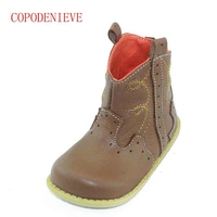 COPODENIEVE Casual Shoes Kids Genuine Leather Retro Side Zipper Children Shoes Boys Leather Brand Chaussure Enfant