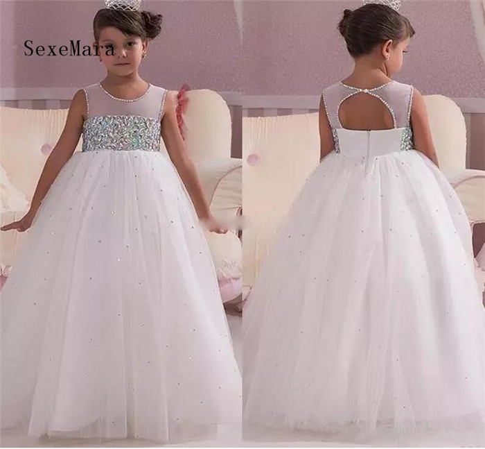 2018 Princess White Wedding Flower Girl Dresses Empire Waist Crystals Open Back Custom Made Communion Dress Pageant Gown plus size printed empire waist peplum top