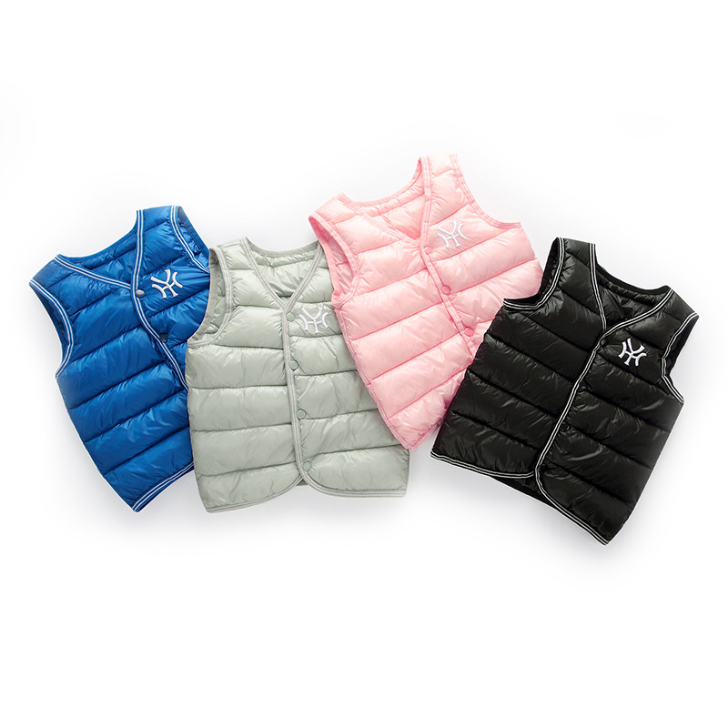 Autumn Winter vest for girl Boys Jacket light Cotton down vest Kid Waistcoat baby Vest Solid Single Breasted Outerwear Coats(China)