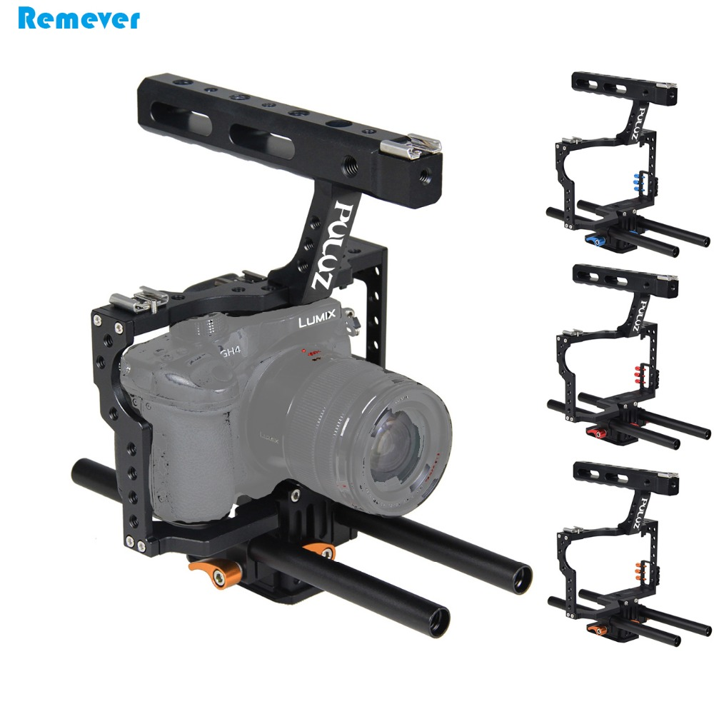 Newest Rod Rig DSLR Video Cage Camera Stabilizer+Top Handle Grip Steadicam for Sony A7 A7r A7r A7s A7s II Panasonic DMC-GH4 yelangu aluminum alloy camera video cage kit film system with video cage top handle grip matte box follow focus for dslr