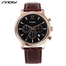 Sinobi de oro reloj de vestir hombres Luxury Brand analógica fecha movimiento de cuarzo genuino correa de cuero de negocios vestido de pulsera AA177