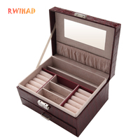 Pattern jewelry box with drawer double layer Necklace Earrings organizer makeup Container Boxes dressing Case