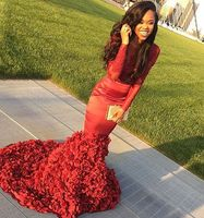 Sexy African Mermaid Red Prom Dresses Long 2019 Lace Appliqued Big Flower Train Black Girls Prom Dress Formal Party Gowns
