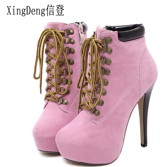 Xingdeng Lady Party Office Riding Boots Women Thin Heels Round Toe Flock Lace Up Bandage High