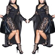 2017 mode femmes noir dentelle robes voir à travers club dress bandge v cou vestidos sexy robes de soirée night club femme Robe