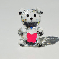 Glass Crystal Cute Bear Figurines Animal Paperweight Art Collection Table Car Ornaments Home Wedding Decoration Gifts