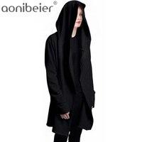 Aonibeier Phụ Nữ Áo Nỉ Trùm Đầu Với Đen Gown Hip Hop Lớp Áo Hoodies và dài Tay Áo Thiết Kế Áo Choàng Mùa Đông Coats Outwear