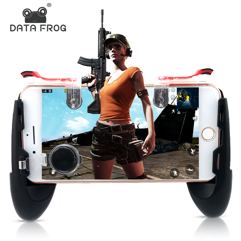 Data Frog For PUBG Mobile Phone Controller Trigger Game Fire Button Joystick For IPhone 7 8 Plus X For Xiaomi mi 8 Android