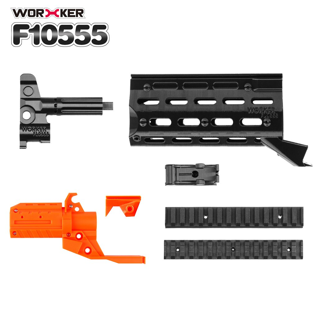 3D Printing Modularized NO.153 Modified Kit + Plastic Straight Grained Pipe + Front Tube Decorative Cap for Nerf Stryfe Toys