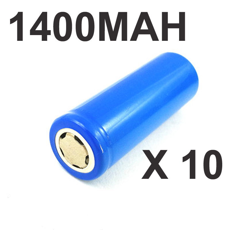 10pcs 3.7v <font><b>ICR</b></font> <font><b>18500</b></font> rechargeable lithium ion <font><b>battery</b></font> cell 1400MAH flat top for LED flashlight torch and speaker image