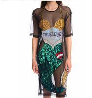 2017 Sequin Mermaid Dress Summer Women Sexy Street Fashion Dress Black Cartoon Mesh Dress Perspective Dress