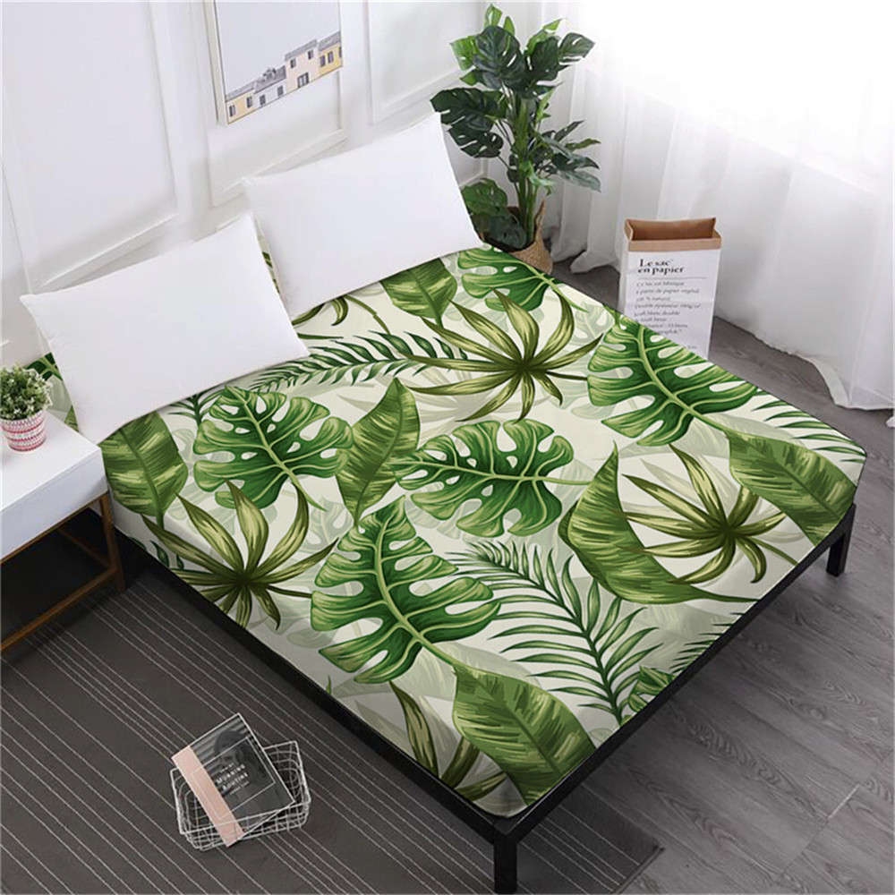 Tropical Plant Bed Sheet Rainforest Green Leaves Fitted Sheet Flower Painted Mattress Cover 100% Polyester Home Textile D35