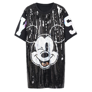 2019 Punk Style Sequins Cartoon Tshirt Dress Women T Shirts Loose Dress Summer T Shirts Vestidos Black Tops for Women Tees High 1