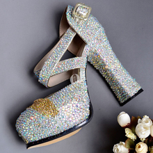Girls Dress Pumps AB Crystal Shoes Sexy High Heels Round Toe Shoes Pumps Women Heels Female Party Ladies Wedding Shoes Woman