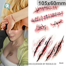 New waterproof body of Halloween horror scar wound realistic blood injury patterns stickers RC2251
